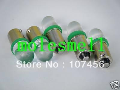 Free shipping 10pcs T10 T11 BA9S T4W 1895 12V green Led Bulb Light for Lionel flyer Marx