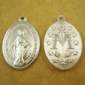 Image 2 - 100pcs of Aluminum Religious Miraculous Medal Pendant