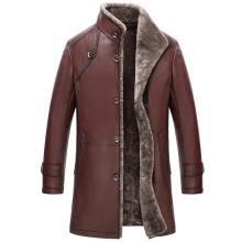 Men's Genuine Leather Jacket Double-Face Fur Coat Sheepskin Jacket Fashion Slim Long Section Casual Coat Mandarin Collar GSJ367