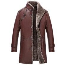 Men's Genuine Leather Jacket Double-Face Fur Coat Sheepskin Jacket Fashion Slim Long Section Casual Coat Mandarin Collar GSJ367
