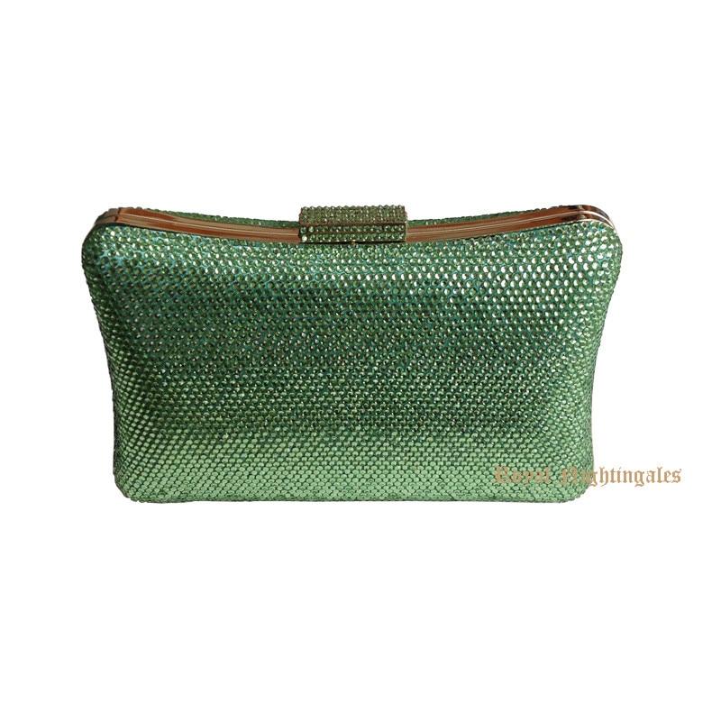 Women Party Green Metal Box Shoulder Handbag Crystal Evening Clutch Wedding Clutches Bags Evening Purse Bolsos de Fiesta party box black