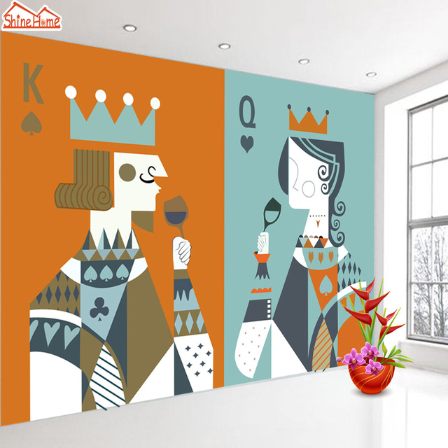 Shinehome Large Poker King Queen Child Wall Paper 3d Wallpaper For