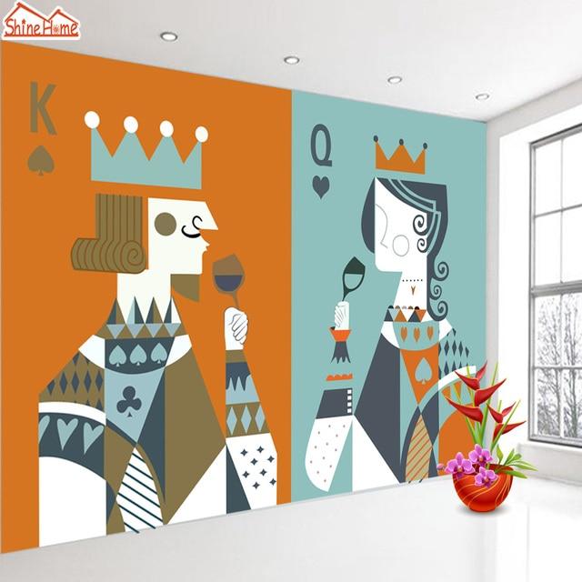 ShineHome Large Poker King Queen Child Wall Paper 3d Wallpaper For Kids Boys Girls 3