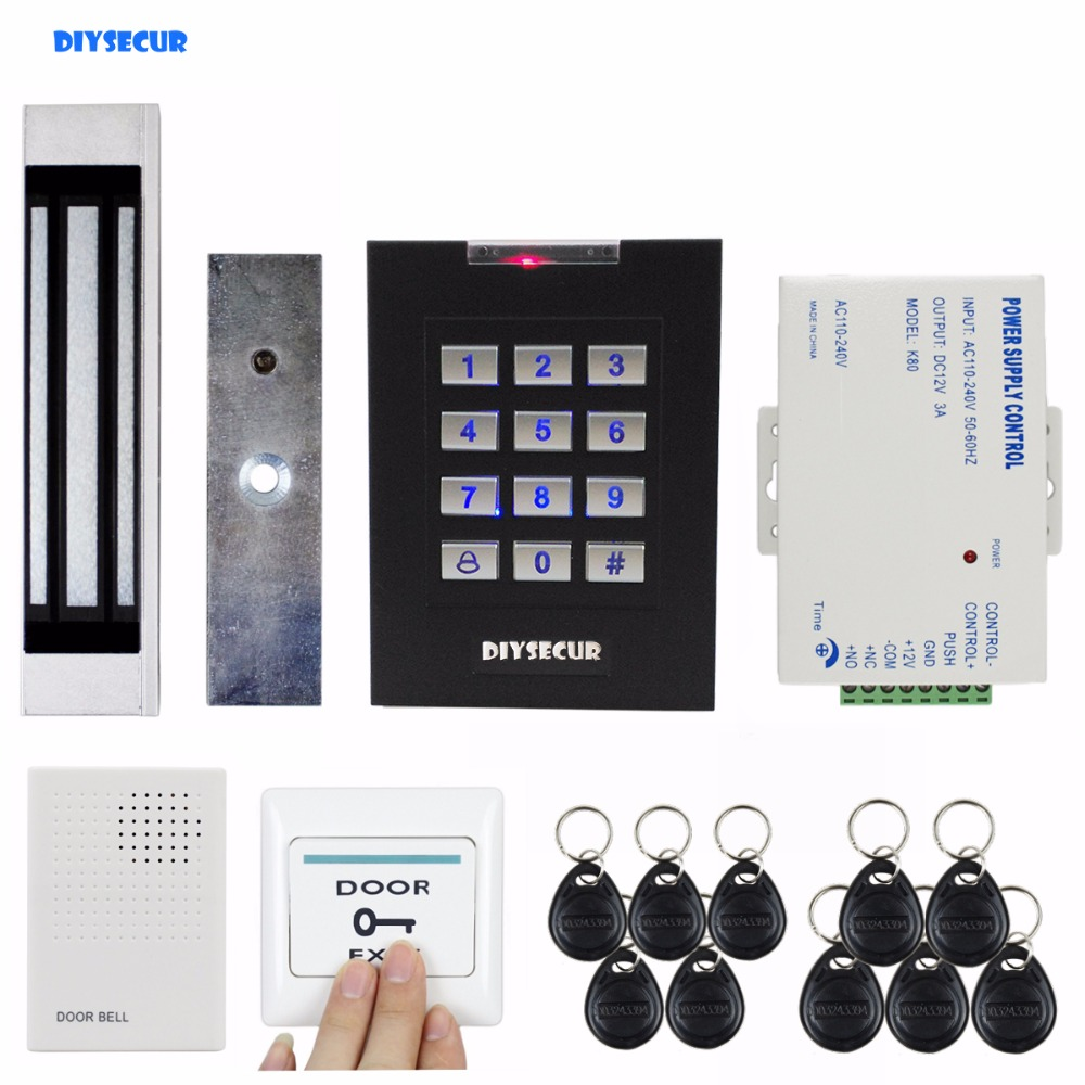 DIYSECUR 180kg Magnetic Lock Door Lock 125KHz RFID Password Keypad Access Control System Security Kit for Home / Office diysecur 280kg magnetic lock 125khz rfid password keypad access control system security kit exit button k2