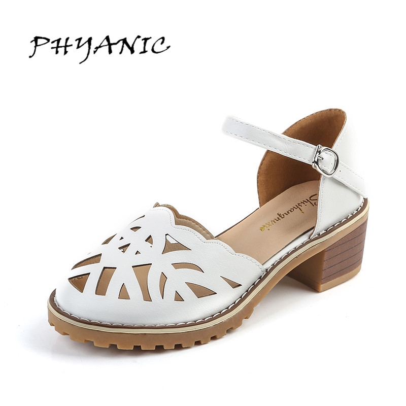 PHYANIC Women Sandals Square Med Heel Summer Style Women Girl's Shoes Buckle Fashion Cut outs Shoes Woman Big Size 40 PHY3403 xiaying smile summer new woman sandals platform women pumps buckle strap high square heel fashion casual flock lady women shoes