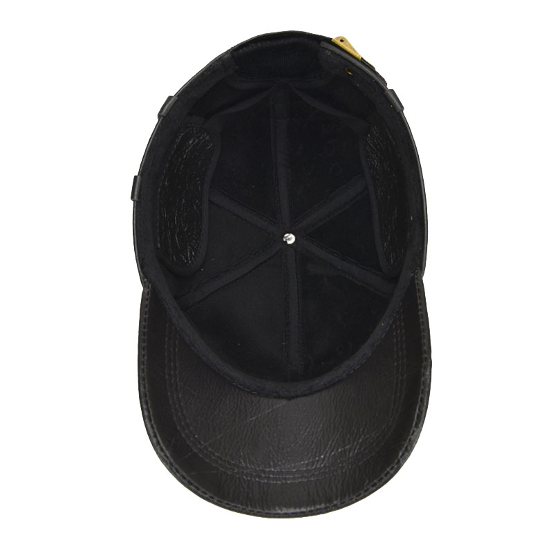 competitive price 4e5fc 18c3b AKIZON  Leather Hat Men 100% Leather Baseball Cap with Ears Flap Dad ...