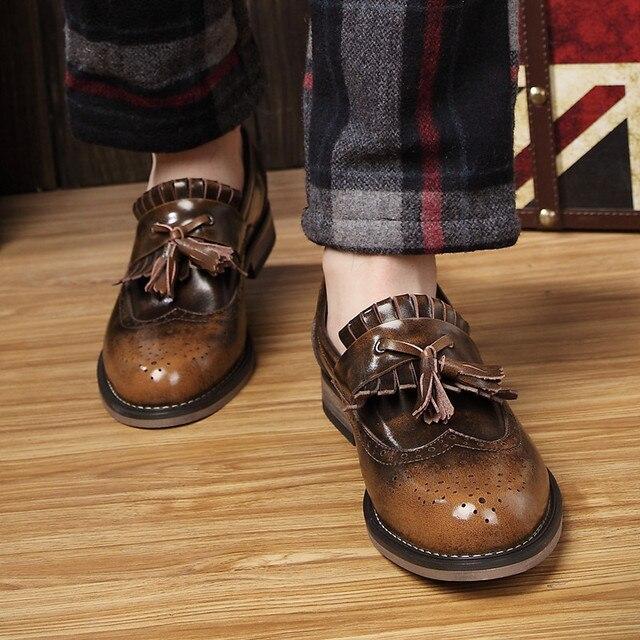 Натуральная Кожа Мужчины Обувь Повседневная Поскользнуться На Старинные Мужчины Оксфорды Высокое Качество