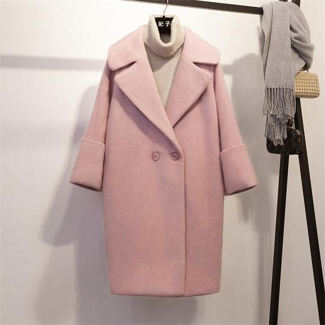 2018 New Loose Overcoat Long-style Student Wool Overcoat Turn-down Collar Double Breasted Regular Pink Long Woolen Overcoat
