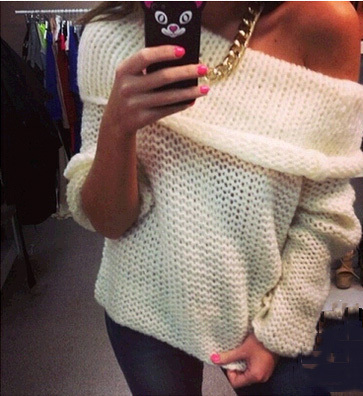 2017 new fashion women sexy off shoulder casual pullover sweater poncho loose knitted top Pullovers oversized knitwear jumper