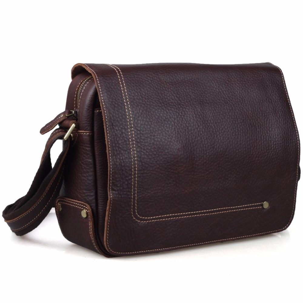 TIDING Men Messenger Shoulder Bag Boy Satchel 100% Cowhide Leather Bags Simple Style Dark Brown Color 8479 concise men s messenger bag with embossing and dark color design
