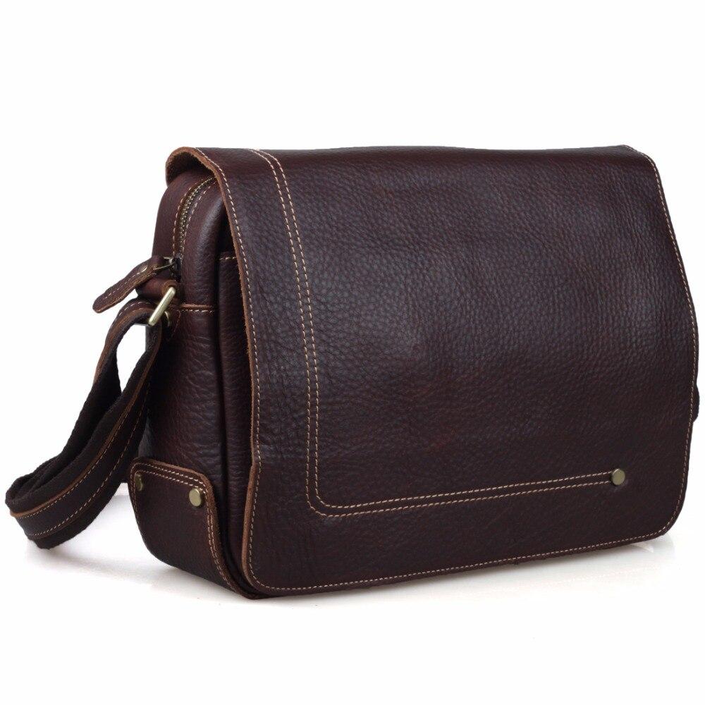 TIDING Men Messenger Shoulder Bag Boy Satchel 100% Cowhide Leather Bags Simple Style Dark Brown Color 8479