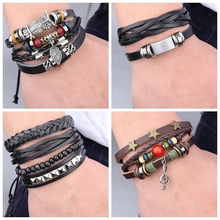New Style Leather Multilayer Braided Bracelet For Men Handmade Charm Vintage Black Bangle Jewelry Accessories