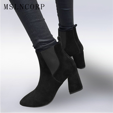 Plus Size 34-43 Spring Autumn Ankle Boots Flock Genuine Leather Fashion High Heels Shoes Casual Women Sexy Slip On