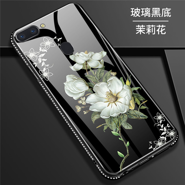 R11s Latest Design Flower Glass Shell Case For Oppo A83 A79 A57 A59 A73 A37  Hard Tempered Glass Back Cover For R9 R9s R11 Plus