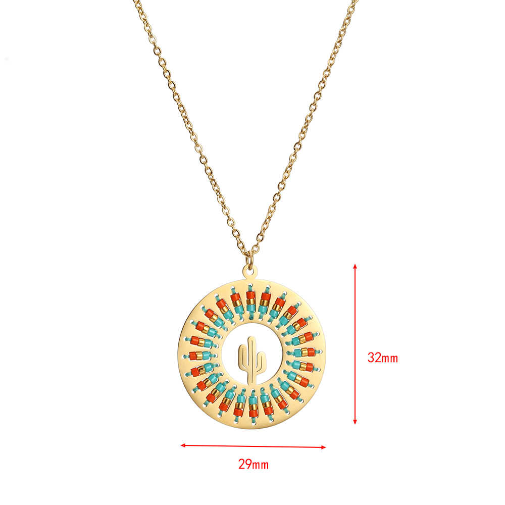 Lucky Eye Round Pendant Miyuki Necklace Stainless Steel Long Chain Elephant Cactus Necklace Jewelry Gift for Women Female EY6335