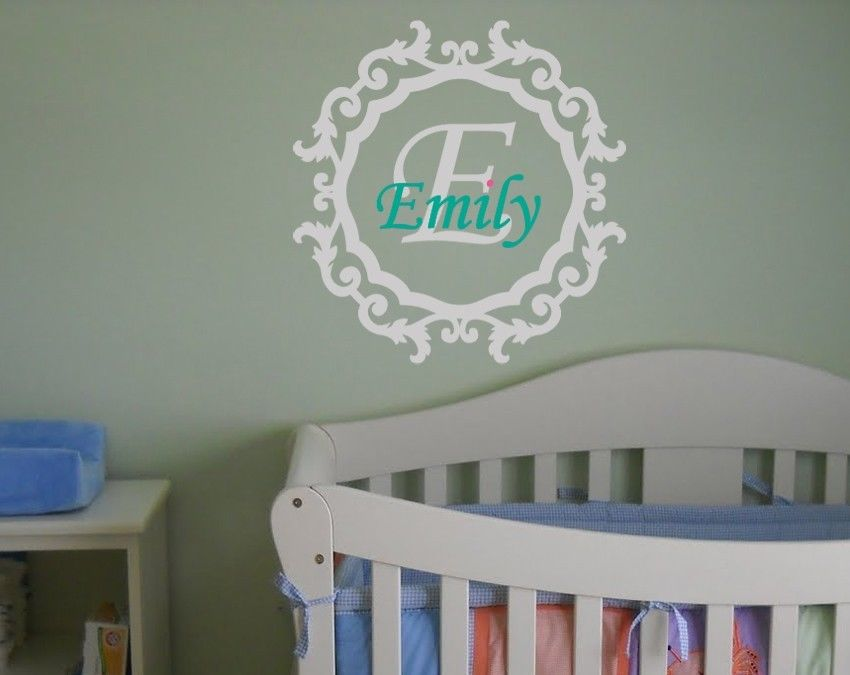 Baby Boy or Girl Name and Initial Border Nursery Decal 22X22in