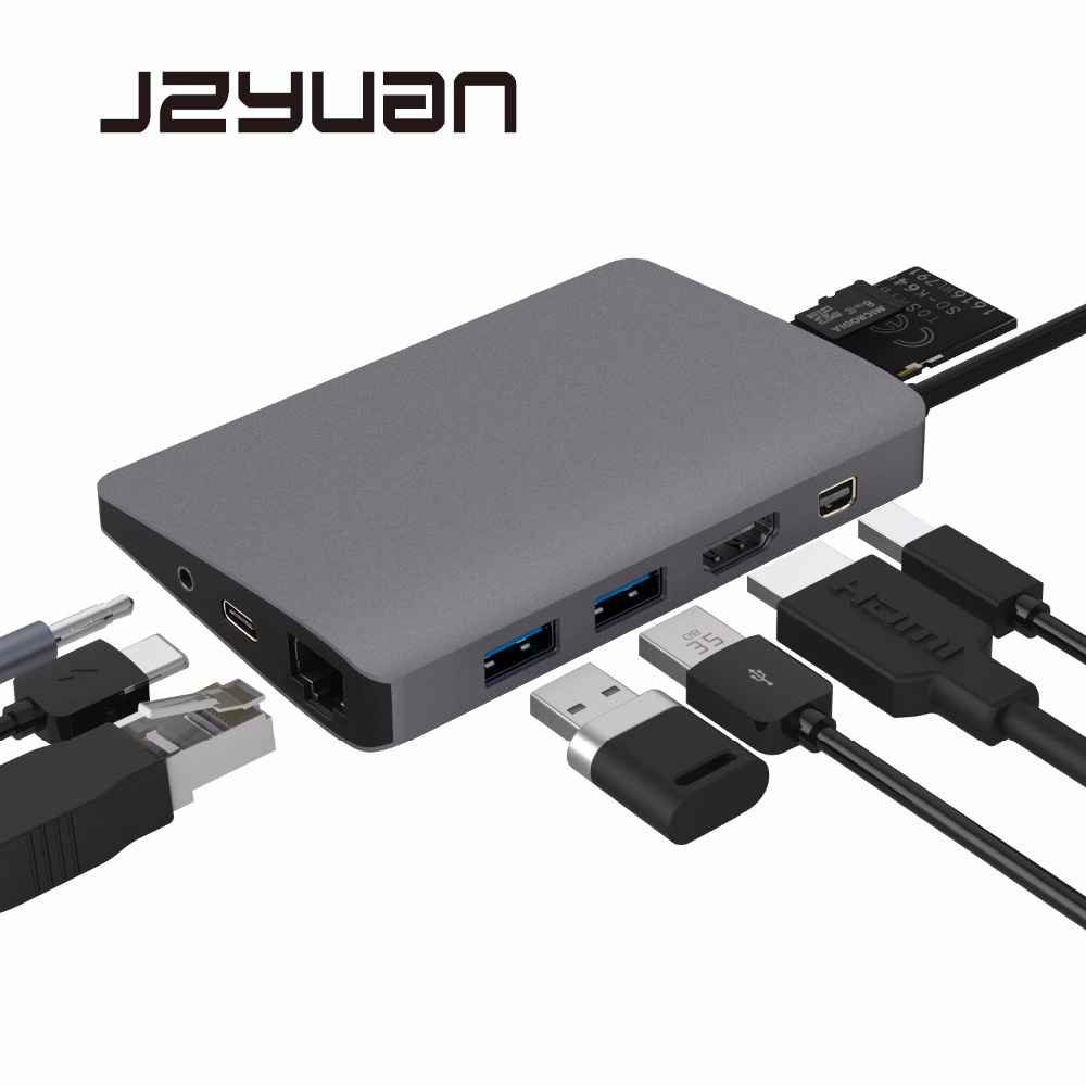 JZYuan 9 in 1 USB C 3.1 HUB 4K Video HDMI Gigabit Ethernet Adapter With Mini DP 3.5mm Audio Type C PD Charging Dual USB 3.0 HUB aoeyoo uc 05 usb 3 1 type c to gigabit ethernet adapter with pd