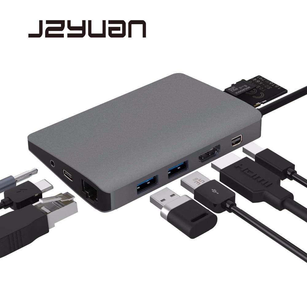 Jzyuan 9 In 1 Usb C 3.1 Hub 4K Video Hdmi Gigabit Ethernet Adapter With Mini Dp 3.5Mm Audio Kind C Pd Charging Twin Usb 3.zero Hub