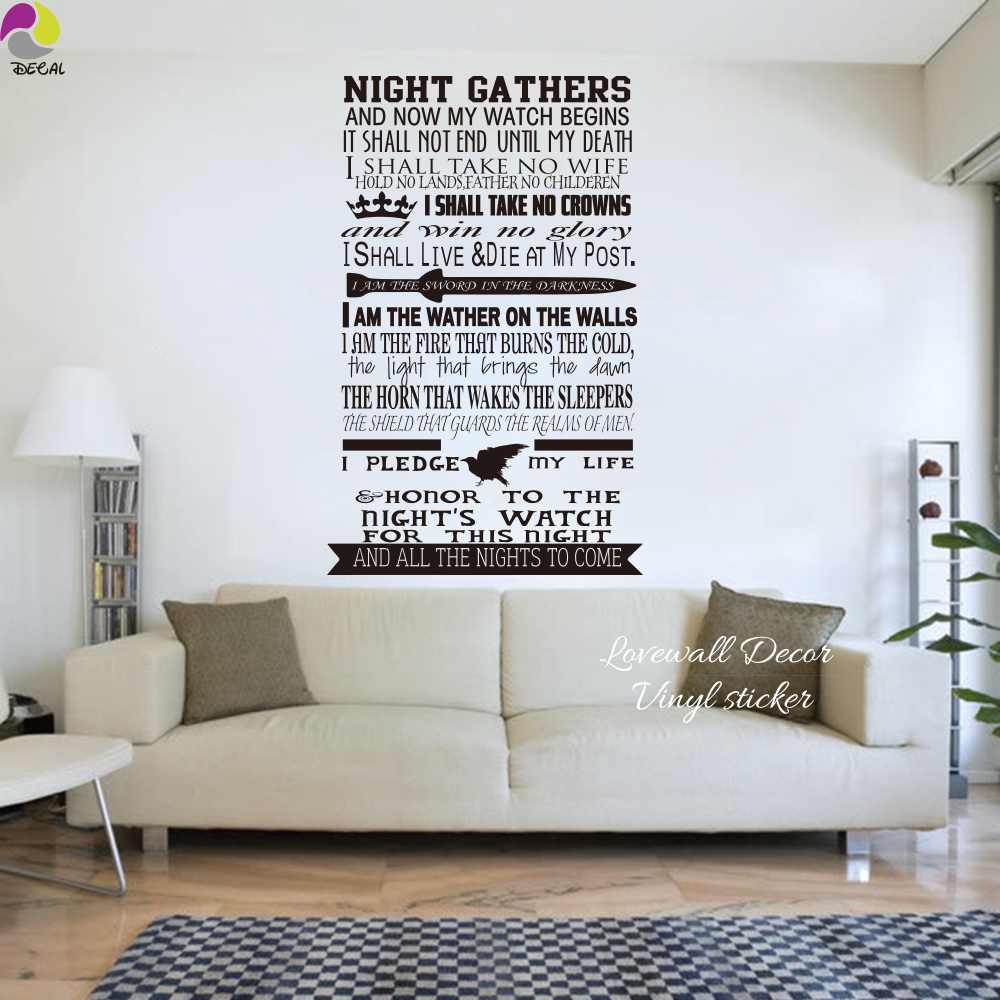 Game Of Thrones Nights Watch Oath Wall Sticker Living Room Bedroom A Song Ice And Fire Decal Vinyl Decor Art In Stickers From Home