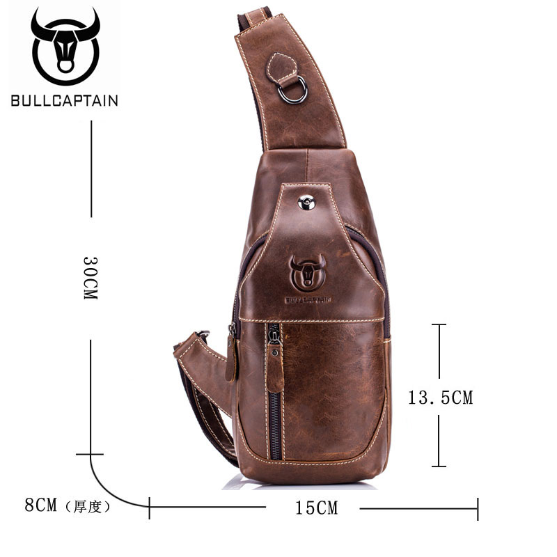 f79e94d9d3e8 BULLCAPTAIN Fashion Genuine Leather Crossbody Bags men casual messenger bag  Small Brand Designer Male Shoulder Bag Chest Pack-in Crossbody Bags from  Luggage ...