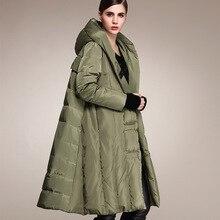 Зимняя куртка-пуховик, большие размеры, 90% утиного пуха, модное Брендовое пальто с капюшоном, стильное длинное пуховое пальто, женское свободное толстое теплое пальто, wj1307