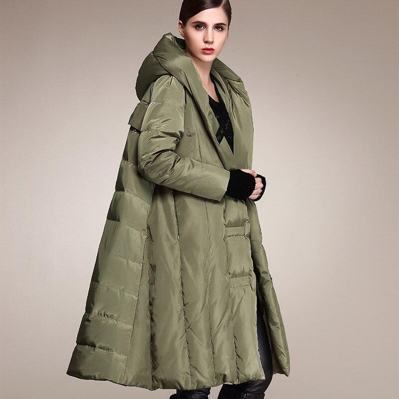 Winter Plus size 90% duck down coat fashion brand hooded cloak style long down jacket women's loose thicker warm coat wj1307