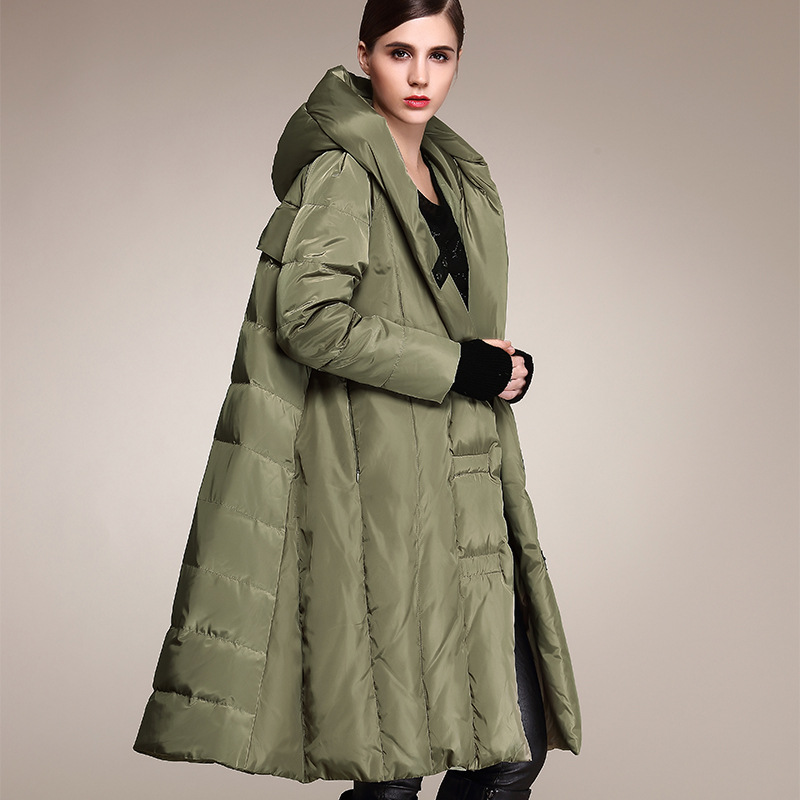 Winter Plus size 90% duck   down     coat   fashion brand hooded cloak style long   down   jacket women's loose thicker warm   coat   wj1307