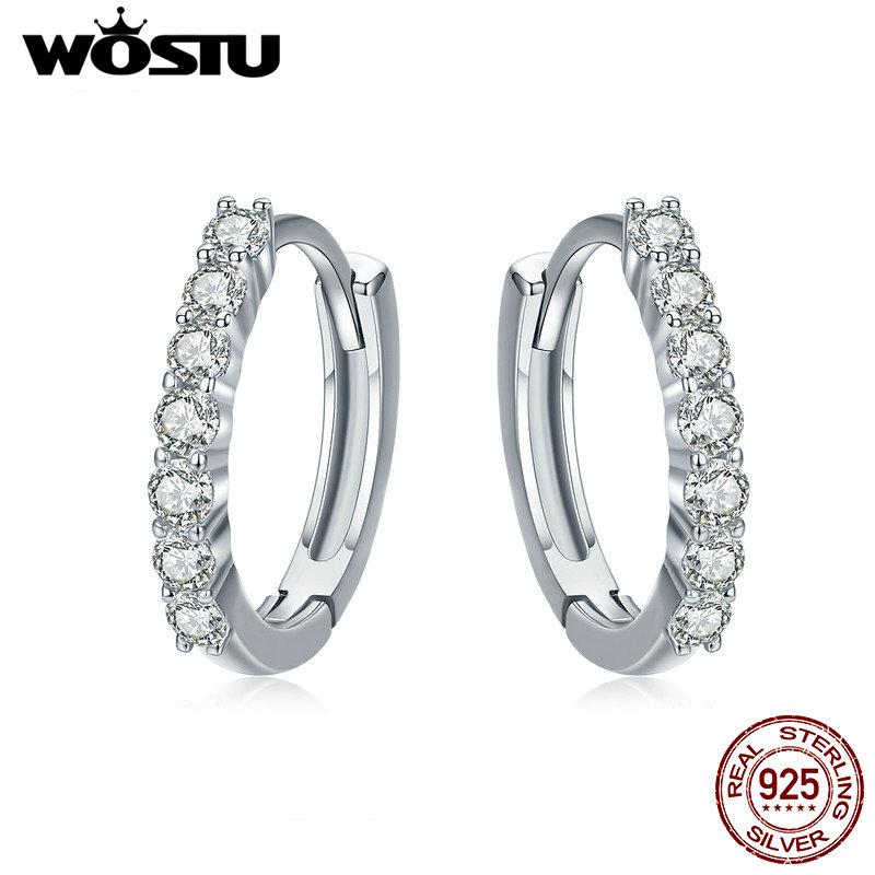 WOSTU 2018 Hot Sale Real 925 Sterling Silver Dazzling CZ Hoop Earrings for Women Fashion Brand S925 Silver Jewelry Gift CQE351 wostu brand original 925 sterling silver lucky sunflower drop earrings for women female fashion earring jewelry gift dxe461