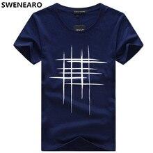 SWENEARO hombres camisetas de camiseta de manga corta de verano de los hombres Simple diseño de línea de impresión de algodón de marca camisas para hombres camisetas
