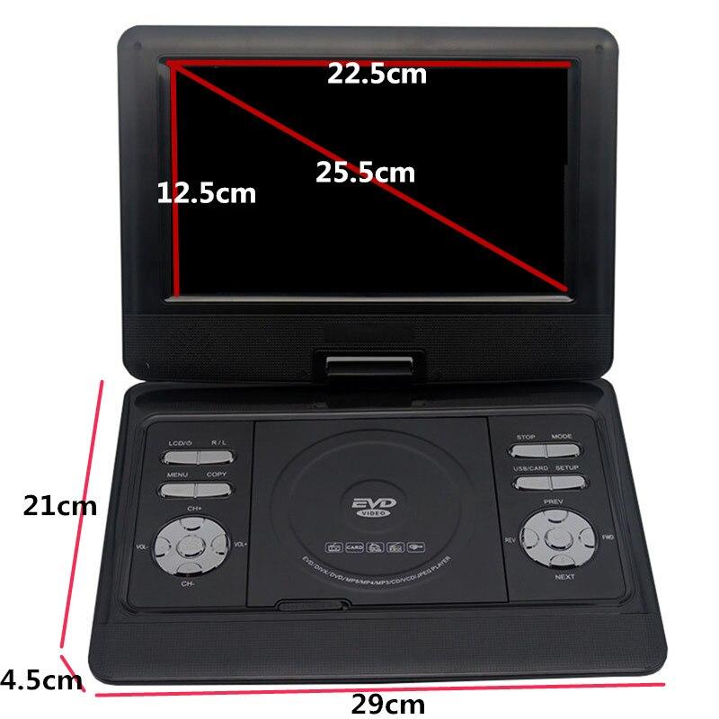 Lecteur DVD Portable LONPOO 10.1 pouces lecteur DVD pivotant DIVX USB Portable TV Portable lecteur DVD TV chargeur de voiture RCA avec batterie - 3