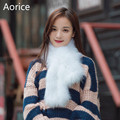 SCM062 real fox fur knit knitted scarf silver fox fur scarves genuine fox fur band new women's winter scarf wraps