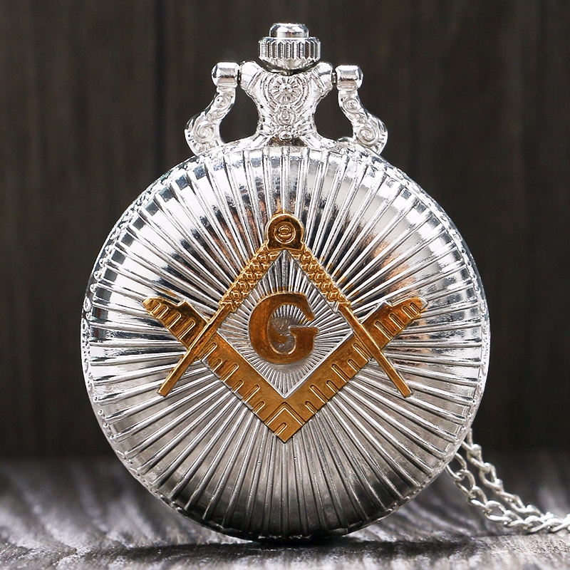 Antique Pocket Watches Chain Silver Masonic Freemason Freemasonry Theme Necklace Pendant Quartz Fob Watch Gifts