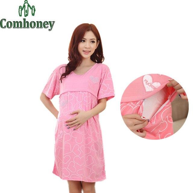 Pregnant Woman Maternity Sleepwear Lactation Month Pregnant Women Pajamas Nursing Breast Feeding Nightgown Pregnancy Clothes