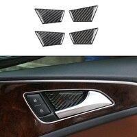 4pcs 100% Carbon Fiber Decoration Inner Door Handle Cover Panel Interior Trim For Audi A6 C7 2012 2017