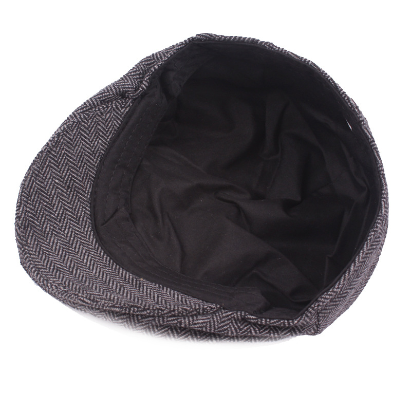 ba2d2a5b55a HT1100 New Fashion Wool Felt Mens Berets Winter Warm Striped Flat Caps High  Quality Cabbie Newsboy Driver Ivy Caps for Men-in Berets from Apparel ...
