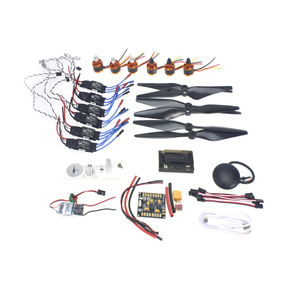 F15843-A DIY GPS Drone 6-axle Aircraft  Electronic:920KV Brushless Motor 30A ESC BEC 1038 Propeller GPS APM2.8 Flight Control 30a esc bec 920kv brushless motor carbon firber propeller gps apm2 8 flight control for 4 axis diy gps drone