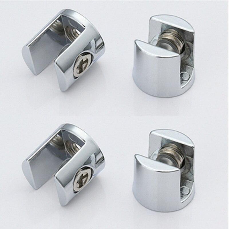 Suporte de prateleira, 4 unidades, suporte de vidro banhado, liga de zinco, cromado, suporte de prateleira, braçadeiras para 6-8mm/ 8-10mm/ 10-12mm