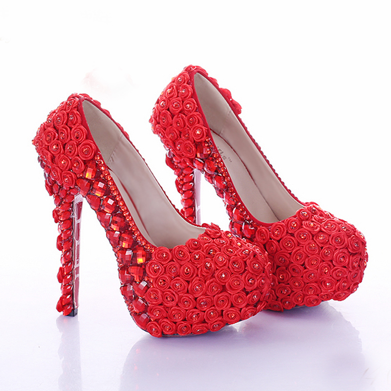 Bal Partie Dame Haute Chaussures Strass Plate De Mariée Hauts 12cm Talons red Super Rose Heels Red 14cm 8cm Talon Mariage Rouge white Fleur Robe forme Heels Heels À Femmes OWq5Px7AwA