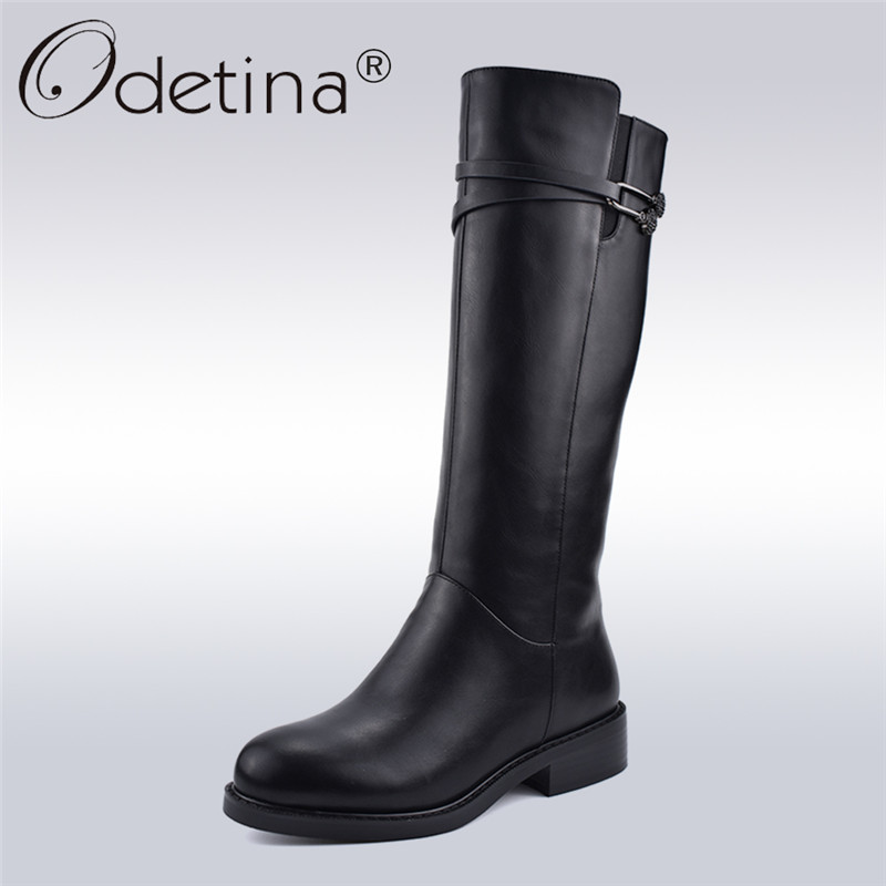 Odetina New Fashion Winter Black Womens Riding Boots Side Zipper Chunky Heel Knee High Boots Thick Plush Warm Shoes Big Size 41