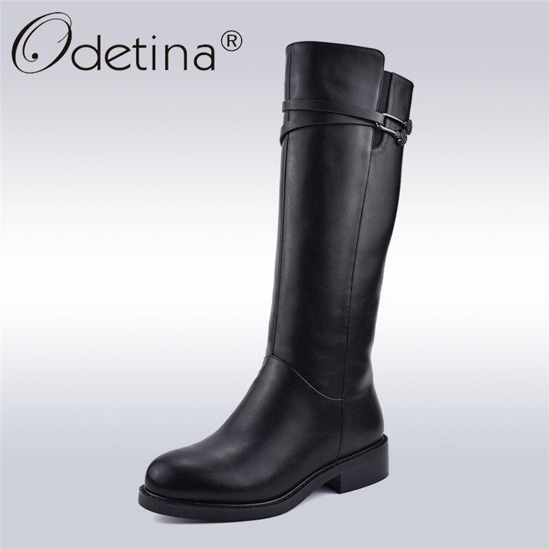 Odetina Nouvelle Mode D'hiver Noir Femmes Équitation Bottes Côté Zipper Chunky Talon Genou Haute Bottes Épais En Peluche Chaussures Chaudes Grand taille 41