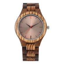 Mens Wooden Wristwatches Quartz Watches Lightweight Handmade Ebony Wood Reflective Surface