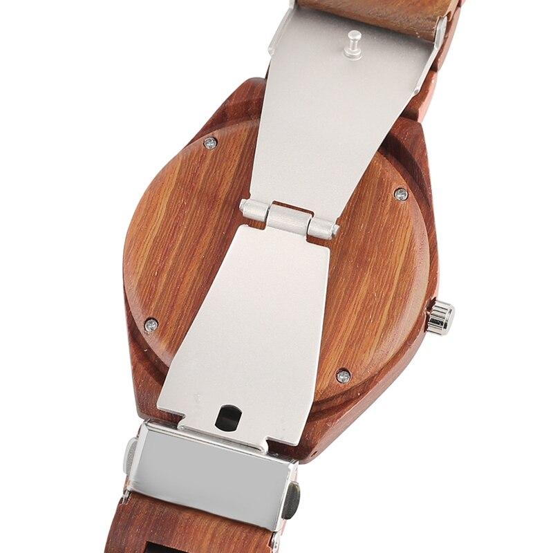 YISUYA Men's Ebony Wooden Watch Wood Strap Quartz Analog Creative Wristwatch Simple Nature Bamboo Male Watches Clock saat (5)