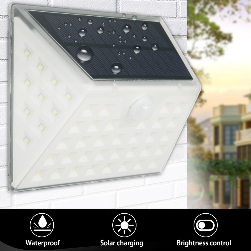 Smuxi 53LED Solar Lamp Waterproof Motion Sensor Solar Light Powered Garden LED Solar Light Outdoor Wall Lamp Stairs Lights led solar lamp waterproof ip65 20led solar light powered garden led solar light outdoor abs wall lamp stairs lights