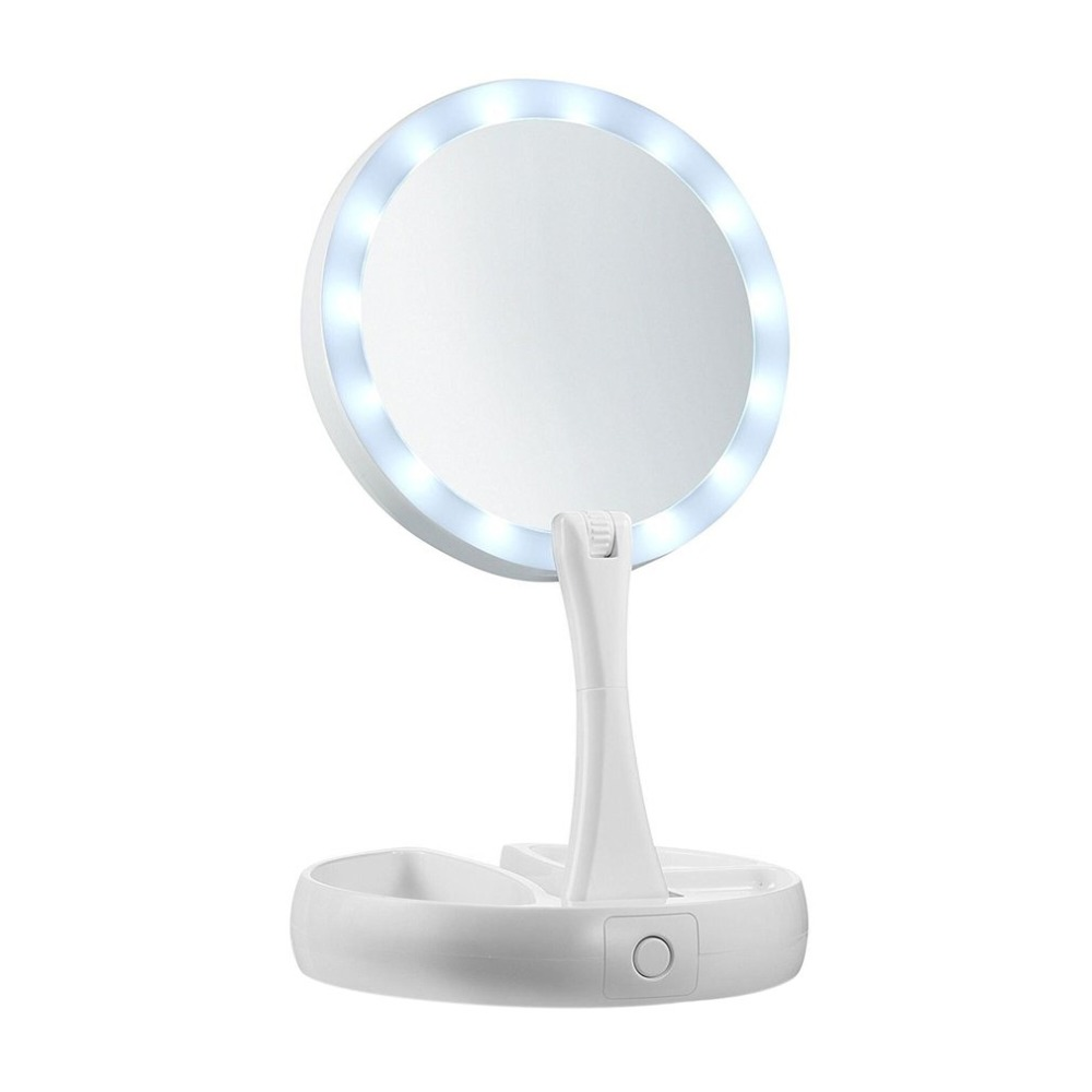 LED Foldaway Makeup Mirror Double sided Vanity Mirror 10X Magnification Desktop Cosmetic Mirror Suitable Portable for Travel