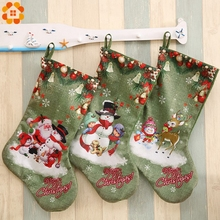 1PC DIY Green Christmas Stocking Gift Holders Santa Claus Holder Bags For Home Christmas Party Xmas Tree Kids Gifts Decoration