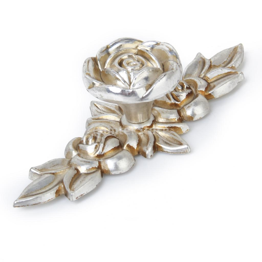 Antique Silver Rose Cabinet Drawer Furniture Door knob Handle Pull ...