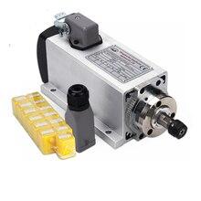 1,5 кВт Мотор шпинделя с воздушным охлаждением комплект ЧПУ мотор шпинделя+ 1,5 кВт 110 В/220 В инвертор+ 1 набор er11 квадратный фрезерный станок шпиндель