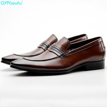 QYFCIOUFU New Genuine Cow Leather Wingtip Shoes Men For Wedding Fashion Slip On Dress Shoes Oxfords Black Brown Shoes Classic