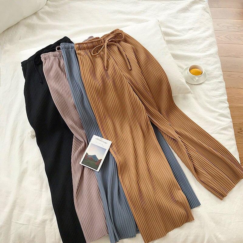 YuooMuoo Casual Female Striped Loose   Wide     Leg     Pants   Chic Trousers Streetwear Korean Elegant Office Ladies Summer High Waist   Pant