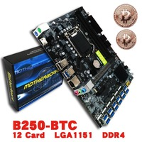 (Ship From RU) B250 BTC Mainboard LGA1151 CPU DDR4 Memory 12 Card USB3.0 Expansion Adapter Desktop Computer Motherboard
